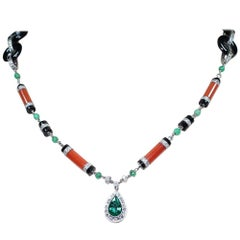 Modern Art Deco Style Platinum Coral Onyx and 5.5 Carat Diamond Necklace