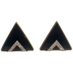 Modern Design Triangular Black Onyx, Yellow Gold and Diamond Pave Post Earrings
