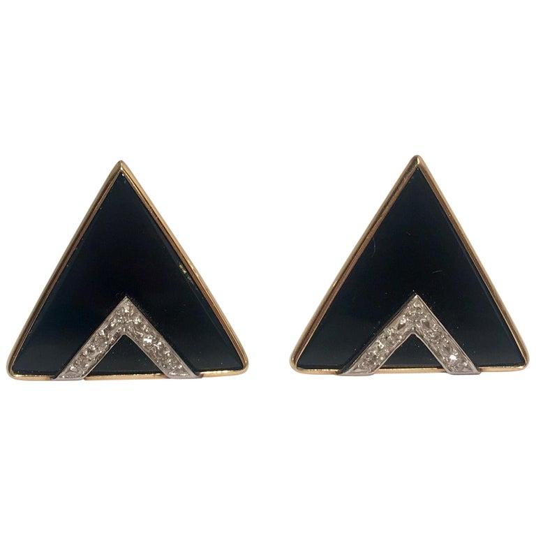 Modern Design Triangular Black Onyx, Yellow Gold and Diamond Pave Post Earrings