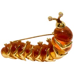 Robert Wander WINC 18k Yellow Gold Carved Citrine Diamond Caterpillar Brooch Pin