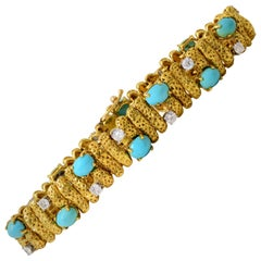 1960s Van Cleef & Arpels Turquoise Diamond Gold Bracelet