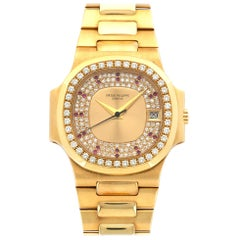Patek Philippe Yellow Gold Diamond Ruby Nautilus Wristwatch Ref 3800