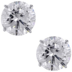 15.17 Carat Round Brilliant Diamond Stud Earrings