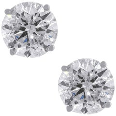 6.03 Carat Round Brilliant Diamond Stud Earrings
