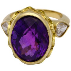 18kt Yellow Gold, 18.25 Carat Amethyst and 1.56 Carat Diamond Ring
