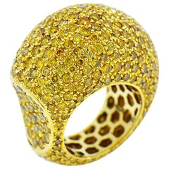 Fancy Yellow Diamond Eternity Ring, Huge Dome 18 Karat Gold Ring 12 Carat