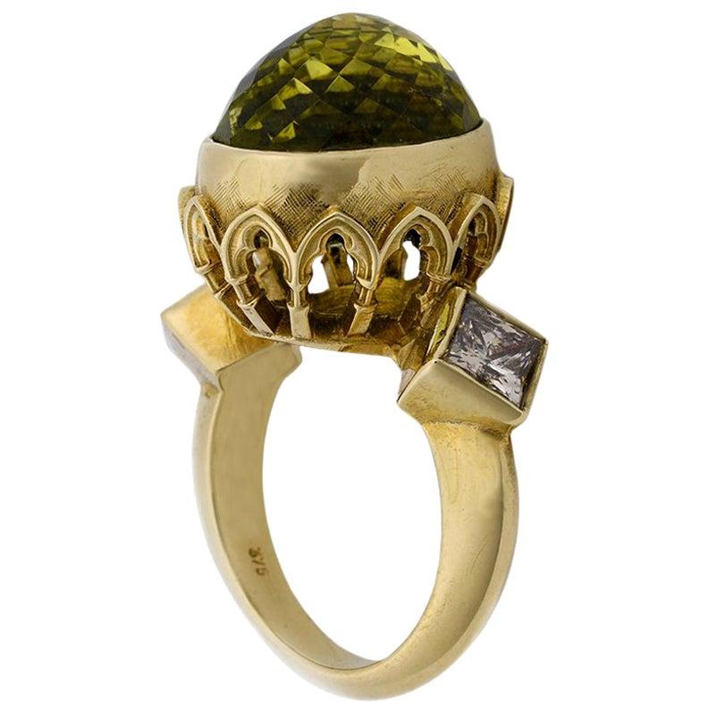 9 Karat Yellow Gold Gothic Arch Lemon Quartz and Diamond Ring