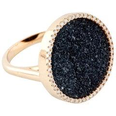 Karolin Rose Gold White Diamonds Black Druzy Agate Cocktail Ring