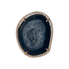 Karolin Rose Gold Grey Agate Geode White Pave Diamond Cocktail Ring