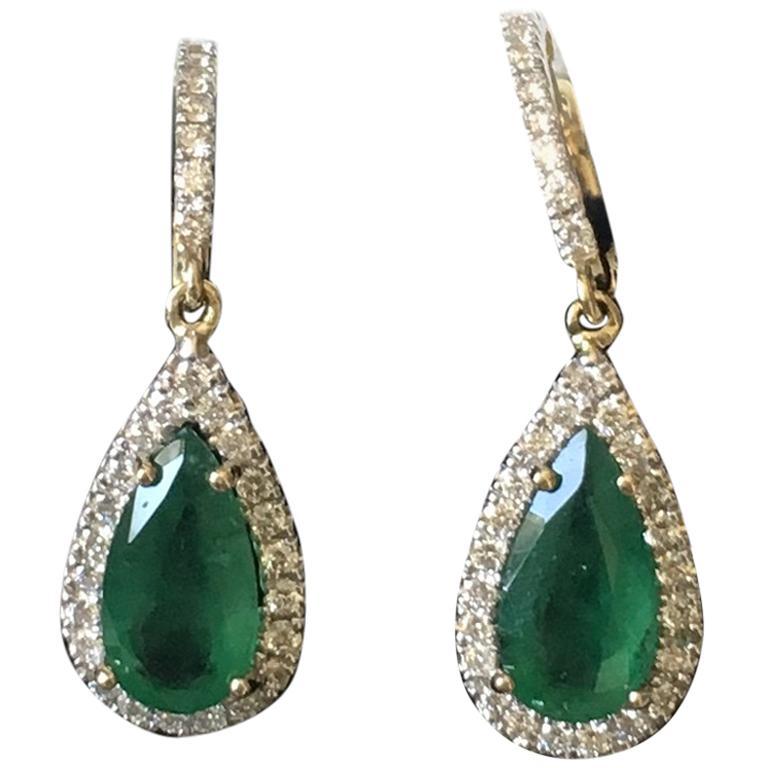 Emerald and Diamond Pear Drop Earrings