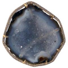 Karolin Agate Geode Light Blue Gold Cocktail Ring Pavé Diamonds