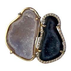 Karolin Agate Geode Rose Gold White Diamond Cocktail Ring