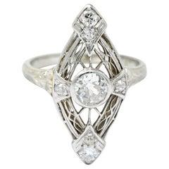 Edwardian .57 Carat Diamond and Platinum-Topped White Gold Ring, circa 1920s
