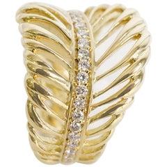 Coralie Van Caloen 18 Karat Gold Feather with Diamonds Band Ring