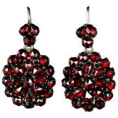 Antique Victorian Bohemian Garnet Earrings Gold, circa 1880