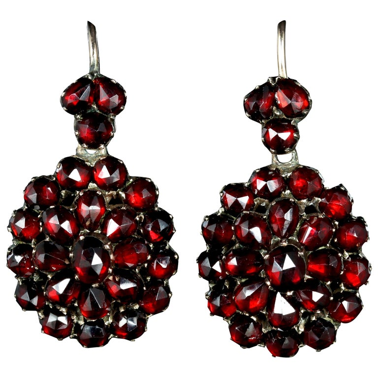 Antique Victorian Bohemian Garnet Earrings Gold Circa 1880 For
