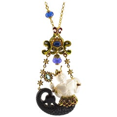 30.00 Carat Tanzanite 3.91 Carat Emerald Sapphire White Diamond Triton Necklace