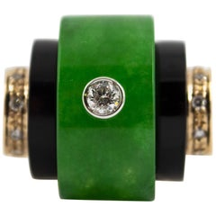 Renaissance Style Jade 0.30 Carat White Diamond Onyx Yellow Gold Cocktail Ring
