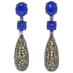 Lapis Lazuli, Tanzanite and Peridot on Black Gold 18 Karat Chandelier Earrings