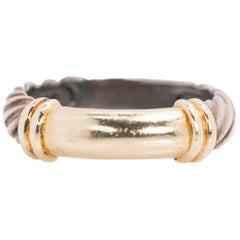 David Yurman Cable Band Ring in Sterling Silver and 14 Karat Yellow Gold
