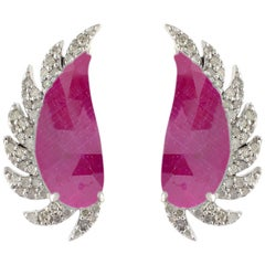 Meghna Jewels Claw Half Moon Studs Ruby and Diamonds