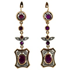 Renaissance Style 2.60 Carat Ruby White Diamond Yellow Gold Lever-Back Earrings