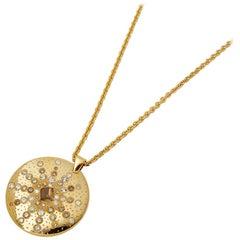 De Beers 18 Karat Yellow Gold Fancy Brown Diamond Sun Talisman Necklace