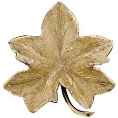 Tiffany & Co. 14 Karat Yellow Gold Leaf Brooch