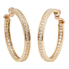 Cartier 18 Karat Yellow Gold Diamond Inside Out Hoop Earrings
