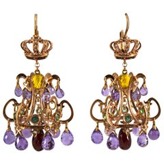 23.00 Carat Amethyst Citrine Garnet Emerald White Diamond Yellow Gold Earrings