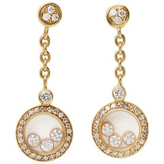 Chopard 18 Karat Yellow Gold Happy Diamonds Earrings