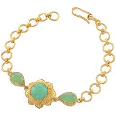 Emma Chapman Chrysoprase Gold Plate Bracelet