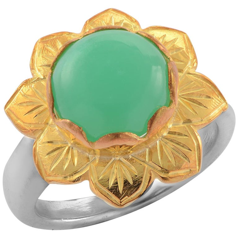 Emma Chapman Chrysoprase Gold Plate Ring