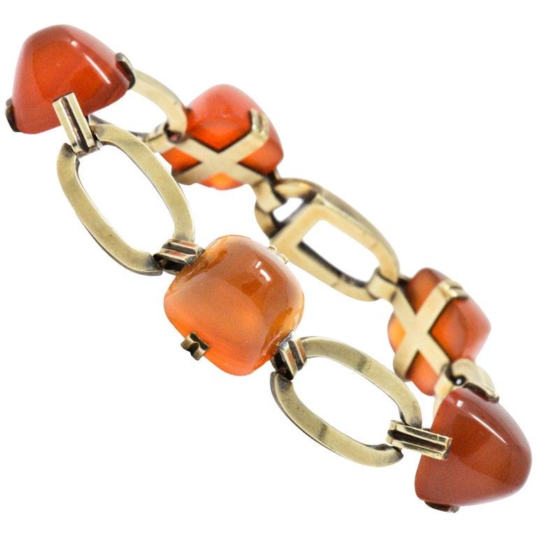 Art Nouveau Carnelian and 14 Karat Gold Bracelet