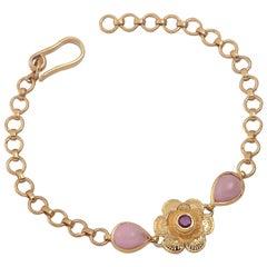 Emma Chapman Pink Opal Ruby Gold Plate Bracelet