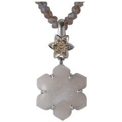 Emma Chapman Grey Moonstone Diamond Silver Pendant