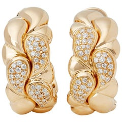 Chopard 18 Karat Yellow Gold Diamond Casmir Earrings