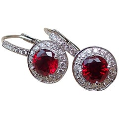 18k White Gold Earrings, 2.43 Carat Chatham-Created Ruby, 0.41 Carat Diamond