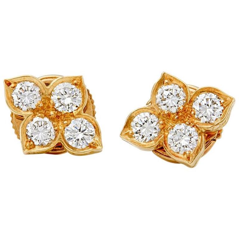 Cartier 18 Karat Yellow Gold Diamond Inde Mysterieuse Earrings