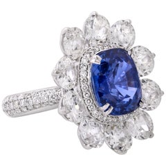 Unique 9.06 Natural Blue Sapphire Old Cut Diamond Art Deco one of a kind Ring