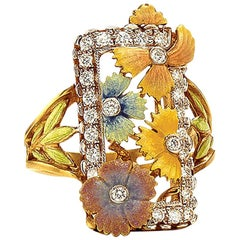 Masriera 18 Karat Yellow Gold, Fired Enamel and Diamond Flower Ring