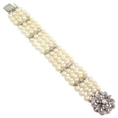 Four Strand Cultured Pearl Bracelet w Diamond Clasp - 2.50 Carats total / 14k