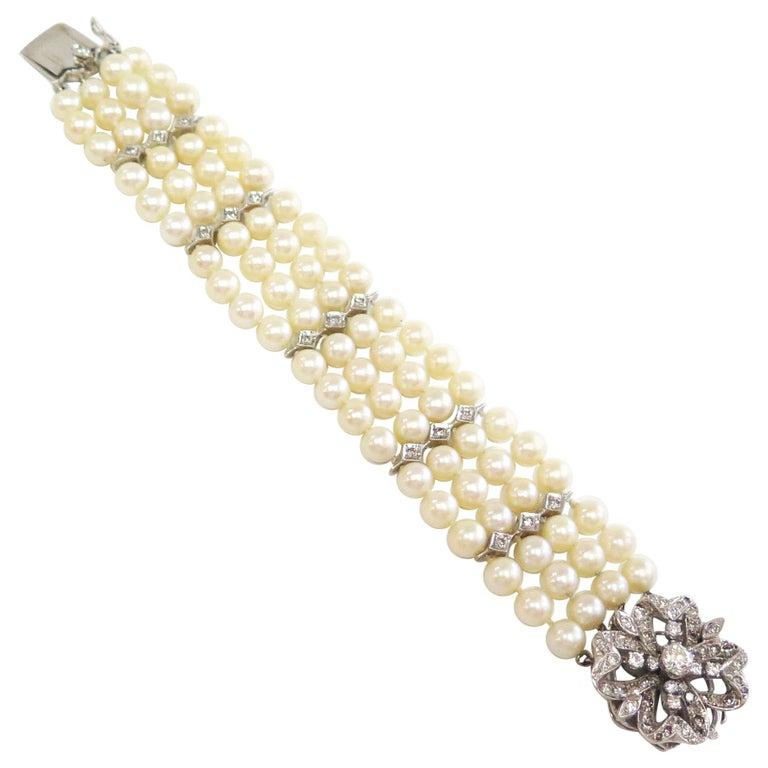 Four Strand Cultured Pearl Bracelet w Diamond Clasp - 2.50 Carats total / 14k