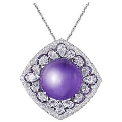 14.12 carats Amethyst cabochon Pendant with Rosecut & Round diamonds with Chain