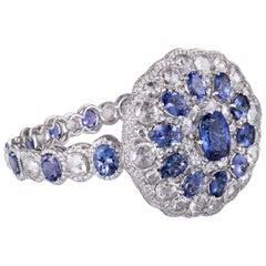42.37 Carats Extraordinary Diamond Bracelet with Rose cut Diamonds & Tanzanites