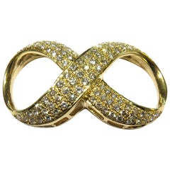 Large Diamond Infinity Gold Pendant Slide Charm