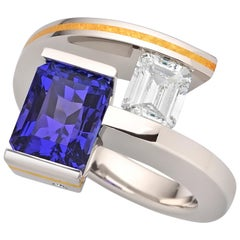 Steven Kretchmer 2-Stone Helix Ring with a Tanzanite and Tension-set Diamond