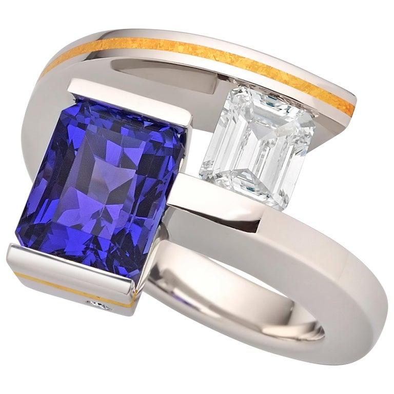 Steven Kretchmer 2-Stein-Helix-Ring mit Tansanit und Diamantbesatz  1