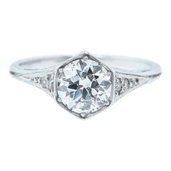 Bailey Banks & Biddle Art Deco Platinum .75 Carat Diamond Ring