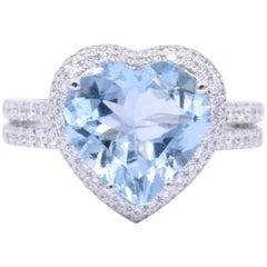 Heart Shape Aquamarine with Halo Diamonds